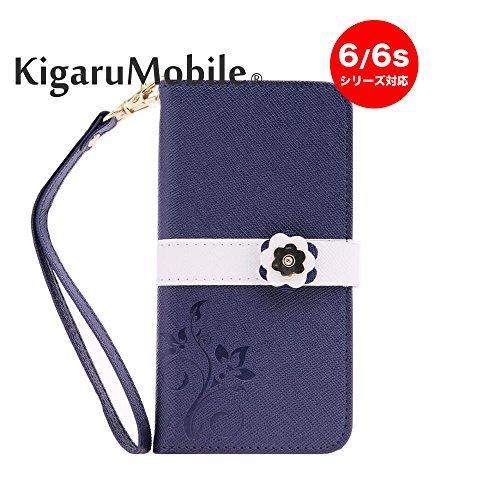 KigaruMobile - Funda de Piel sintética con Tarjetero, botón de Flor y Correa para iPhone 6/6S