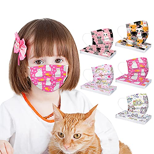 Cat Disposable Face_mask for Kids Girls, Cute Animal Printed Face_mask for Coronɑvịrus Protection with Nose Wire Breathable 3 Layers Thick Non-woven Colored Kitty Print Face Bandanas for School (B)
