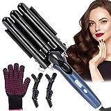 Rizador de pelo, Winpok Pinzas Rizadoras, 3 Tubo Rizador, Turmalina y Cerámica Pantalla LCD 4 Configuraciones de Temperatura (140 ° C-200 ° C), Diseño Plegable con Guantes Anti Escaldaduras