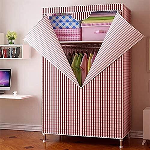 Singolo semplice panno armadio semplice panno economia tipo dormitorio pieghevole tubo d'acciaio audace rinforzo armadio Liuyu. (Colore: rosso)