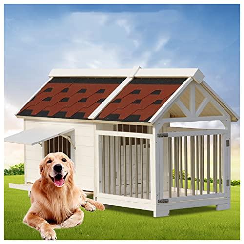 TYX Casetas Perros Exteriores Prueba Agua, Caseta Perro Refugio Perros Madera, Casetas para Perros Jaulas Perros para Interiores Y Exteriores,129×66×78cm