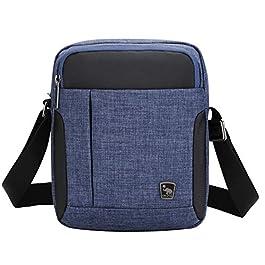 OIWAS Mini Sac Bandoulière Sacoches Petite Bleu Sacoche Homme Pochette Cartable Besace pour Les Loisirs Vacances…