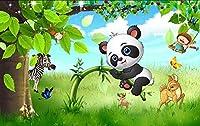壁紙漫画パンダリビングルームベッドルームモダンフレッシュ美しい森の森風景壁画モダンウォールアートデコレーション