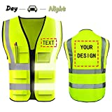 High Visibility Safety Vest Custom Your Logo Protective Workwear 5 Pockets With...