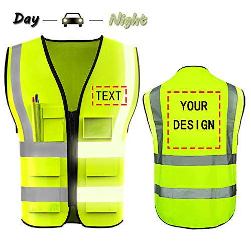 High Visibility Safety Vest Custom Your Logo Protective Workwear 5 Pockets With Reflective Strips Outdoor Work Vest (Neon Yellow (S))