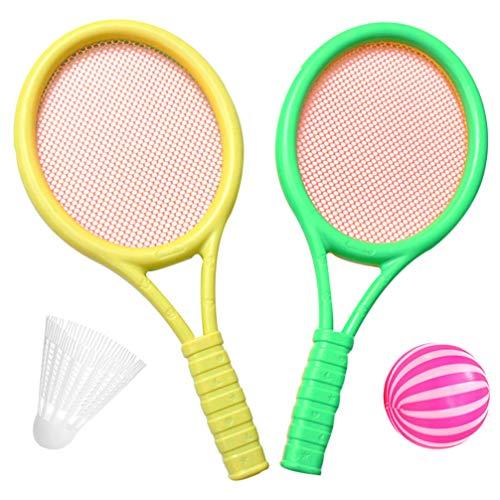 jojofuny Juego de Raqueta de Tenis para Niños con Pelota de Plástico Raqueta de Tenis de Juguete para Hacer Ejercicio Al Aire Libre (Color Al Azar)