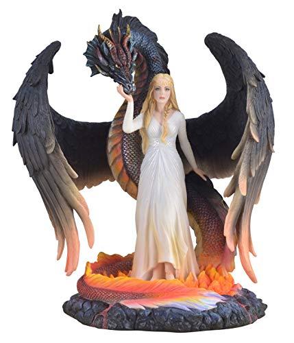 Drachenkönigin mit ihrem schwarzen Drachen in Flammen stehend, Fantasyfigur 26cm