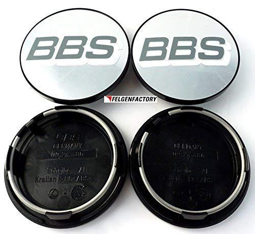 4x BBS Felgendeckel Symbolscheibe Emblem Silber Weiß 70mm BB0924486 mit Sprengring 924486
