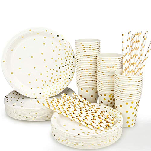 Simbago Disposable Paper Plates Party Supplies - Gold Metallic Foil Dots 50 Dinner Plates 50 Dessert Plates 50 Paper Straws and 50 9 Ounce Cups for Family Friend Work Birthday Party (200pcs)