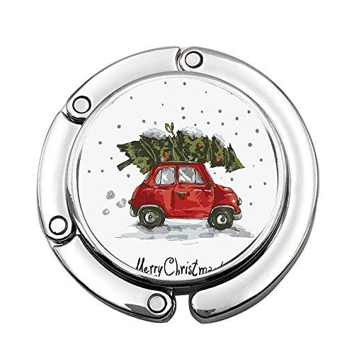Weihnachtsrot Retro-Stil Auto Weihnachtsbaum Vintage Familienstil Illustration verschneite Winterkunst Rot Grün Brauch