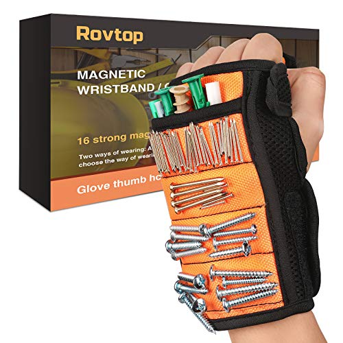 Rovtop Pulsera Magnética Ajustable con 16 Potentes Imanes, Utilizada para Fijar Clavos, Taladros, Tornillos, Pernos, EBrocas, Pernos, para Hombres y Maquinaria