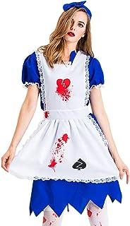 LDSSP Costume Donna Halloween Horror Cameriera Costume da Zombi Spaventoso Vestito Bianco Sanguinante Uniforme Vestito Ele...