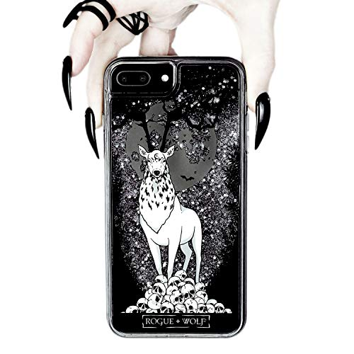 Rogue + Wolf Stag Guardian Silver Glitter Phone Case with Shock Protection TPU Bumper Sides PC Back Shield Compatible with iPhone 6 6S 7 8 Cases Wiccan Goth Hard Cover for Women Witch Gothic Gifts