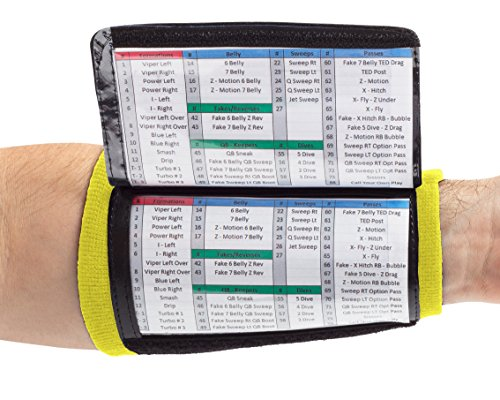 WristCoaches QB Wrist Coach - Playbook Wristband (Youth - Yellow) - Heavy Duty Football Wristbands for Boys with Three Playsheet Compartments - Perfect for Flag Football and Tackle Football