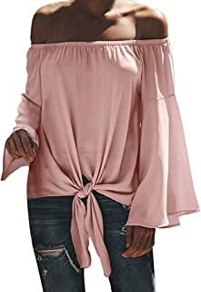 QueenMM🍀Womens Off The Shoulder Bell Sleeeve Blouses Tie Knot Front Casual Shirts Tops