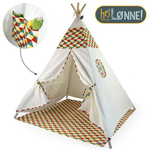 Hej Lønne Tipi Zelt für Kinder - Bunt - Kinderzelt Spielzelt Geschenkidee - Mit Bodendecke und Fenster - Für Haus und Garten