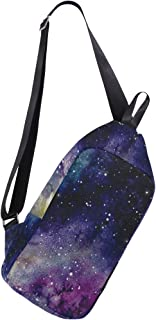 Mens Crossbody bag Watercolor Solar System Chest Backpack for Travel Hiking