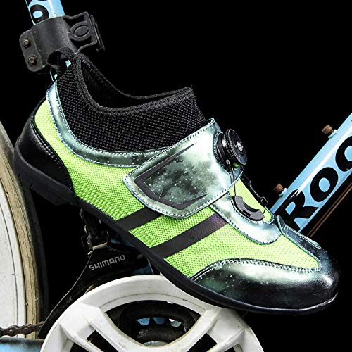 Tingxx Breathable and Comfortable Non Locking Mountain Non Slip Couple Outdoor Cycling Shoes Rotating Buckle Road Bike Shoes Green_39