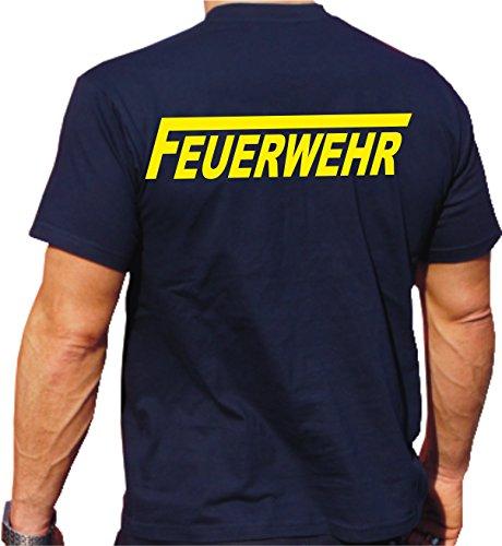 Feuer1 T-shirt pompier avec inscription « Feuerwehr » sur les deux côtés L bleu marine