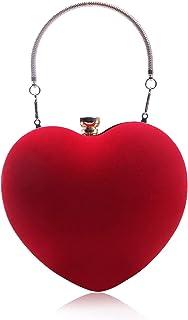7VSTOHS Damen Clutch für Hochzeitsfeier Herz Abendtasche Mini-Partytasche aus Samt Prom Crossbody Clutch Prom