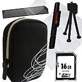 1A Photo PORST - Juego de funda para cámara Canon Ixus 285 (incluye protector de pantalla, tarjeta SD de 16 GB, gamuza de microfibra, mini trípode y Pluma para limpieza), color negro