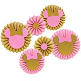 Pink and Gold Glitter Minnie Tissue Paper Fans Backdrop Decoration Girls Birthday Party Favor Set