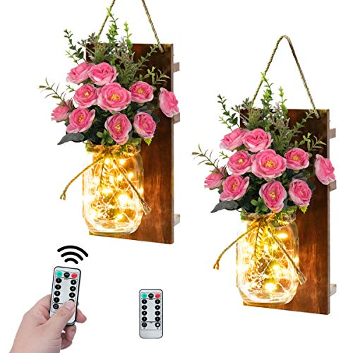 VIEFIN Farmhouse Mason Jar Sconces Wall Decor,Rustic Home Decor Wall Art Hanging Mason Jar Decor with Remote Control LED Fairy Lights and Pink Rose for Home Decorations(2 Pack,Pink)