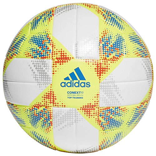 adidas Herren CONEXT19 TTRN Soccer Ball, top:White/Solar Yellow/Solar red/Football Blue Bottom:Silver met, 5