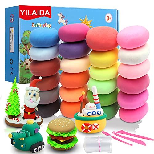 YILAIDA Lufttrockener Ton, 24 Farben, kreativer lehrreicher magischer Ton, ungiftig, ultraleicht, Modelliermasse, ideales Geschenk für Jungen und Mädchen, perfekt für Geburtstag und Weihnachten