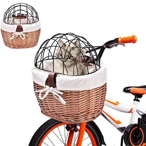 Volking Bicycle Basket With Cover Woven Bicycle Basket Front Handle Wicker Bicycle Basket, Removable Bicycle Handlebar Basket for Small Pets, Cats, Dogs
