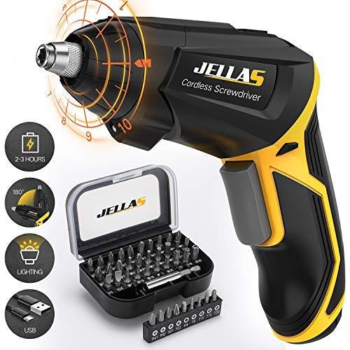 Electric Screwdriver, Jellas Fast Charging 2000mAh 3.6V Li-ion Cordless Screwdriver with Adjustable...