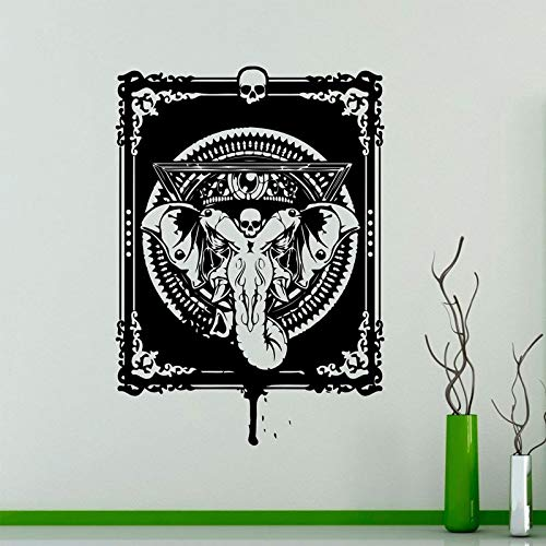 Hindu God Ganesha Wand Vinyl Aufkleber Indian Elephant Wandaufkleber Interior Schlafzimmer Dekoration Asian Indian Design Zimmer Wasserdicht Kreative Dekoration A1 42x59cm