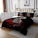 Mädchen Leopard Steppdecke Rose Gepard Dekor Tagesdecke 170x210cm für Kinder Jungen Frauen Schick Botanisch Wild Tier Bettüberwurf Luxus Stil Schwarz Schlafzimmer Kollektion 2St