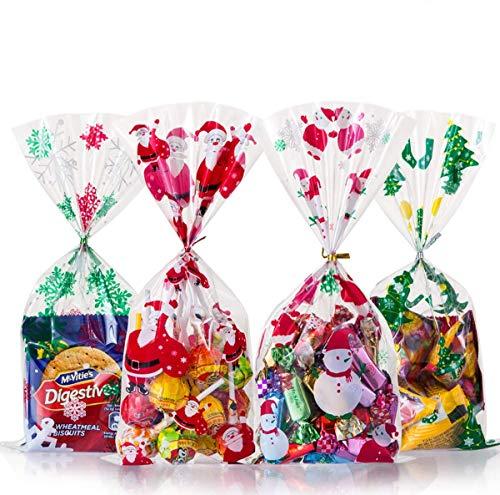 GWHOLE 200 Unids Bolsa de Dulces Navidad con Cuerda, Bolsa de Caramelo Galleta Chocolate Bolsa de Regalo Temática de Navidad