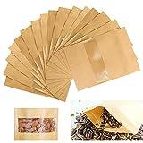 yyuezhi Kraft Stand Up Beutel Wiederverwendbare Kraftpapiertüte Papier Tütchen kraftpapier für Verpackung von Kaffee Kraftpapiertüte mit Fenster für Kekse Trockenfrüchte Nüsse Snack 50 Stück