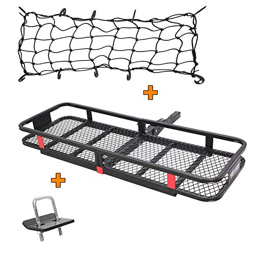 TUFFIOM Upgraded Hitch Mount Cargo Carrier (60'x20'x6') w/ Net & Stabilizer, Hauling 500 Lbs Capacity Steel Basket, Folding Shank Preserve Space