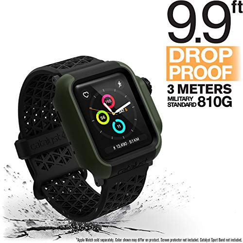 Catalyst Apple Watch 38 mm Cover Serie 3 e Serie 2 - Custodia Antiurto Grado Militare protezione Apple Watch Series 2 Series 3 [Robusta Custodia Antiurto per iWatch] - Verde Militare