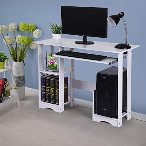 "Kledbying 35.4"" Computer Desk with 2 Shelves & Monitor Stand Holder & Keyboard Tray, Modern Simple Style Home Office Desks (White)"