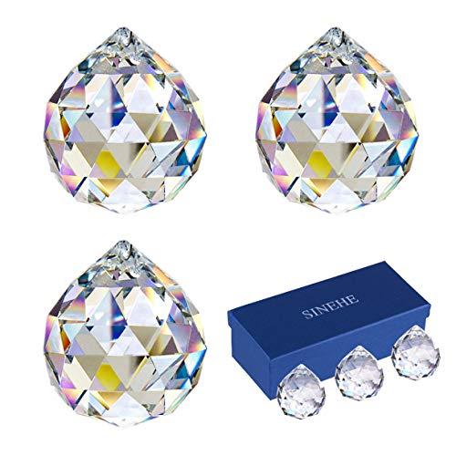 SINEHE Clear Crystal Prism Ball Suncatchers Window Prisms Suncatcher, 40MM / 3 Pack