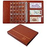 Ettonsun Leather 120 Pockets Coin Collecting Holder Album,24 Pockets Paper Money Currency Collection Supplies Holders,Large Storage Book for Collectors,Bill Commemorative