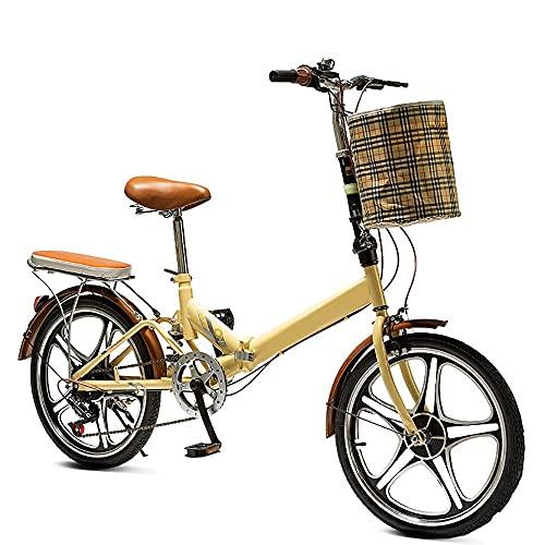 20 Zoll Faltrad Klapprad, Falt-Fahrrad 6-Gang Kettenschaltung mit Gepäckträger, Faltfahrrad für Herren und Damen, Folding City Bike, Vollfederung Bike