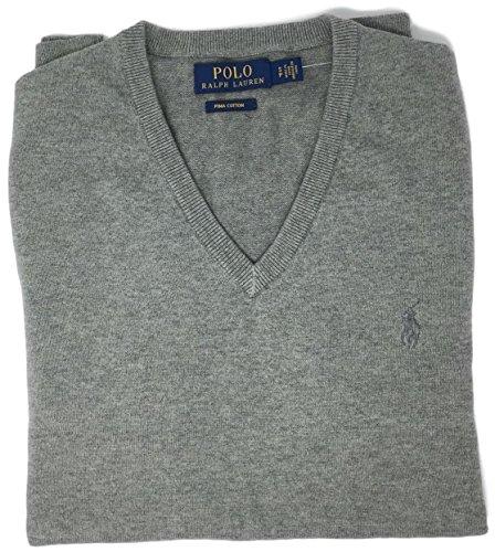 Ralph Lauren Herren-Pullover, klassische Passform, langärmelig, V-Ausschnitt, Pima-Baumwolle -  Grau -  XX-Large