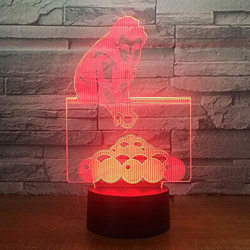 Spelen Biljart 3D Illusie Lamp Nachtlampje Naast Tafel Lamp 7 Kleuren veranderen Touch Switch Children's Slaapkamer Decoratie Lampen Verjaardagscadeau met Afstandsbediening