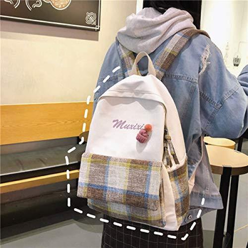 Mochila Mujer Antigua Sensación Niña Lona Campus Universidad Estudiante Bolsa Coreana Sen Salvaje Celosía Ins Mochila 1 29 * 40 * 11 Cm