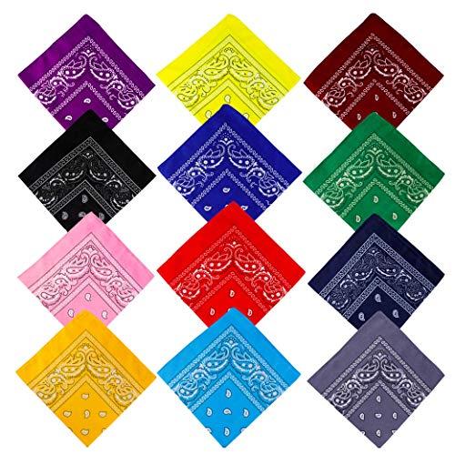 Pañuelos Bandanas de Modelo de Paisley para Cuello Cabeza Multicolor Múltiple para Mujer y Hombre, 12 Piezas Vaquero Diadema Estampado Corbatas Pañuelo Ciclismo, Square Handkerchiefs
