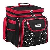 anndora Picknicktasche schwarz weiß gepunktet Kühltasche inkl. Zubehör 4 Personen 29 Teile