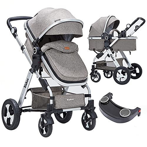 Blahoo Baby Stroller for Newborn, 2 in1 High Landscape Stroller, Foldable Aluminum Alloy Pushchair with Adjustable Backrest.Adjustable Awning, Variable Seat and Recliner(Coffee