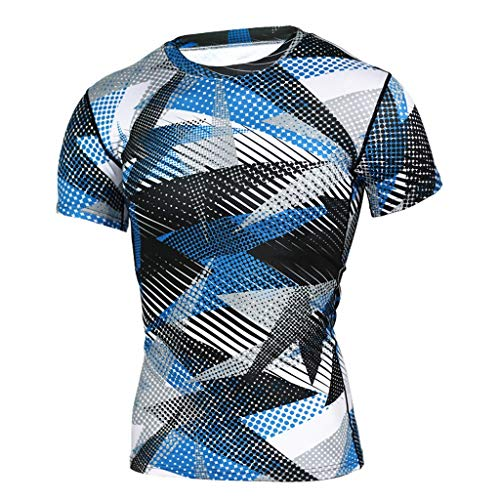 DEELIN Mode Hommes Été Casual Sport Blouse Hauts Col Rond Manches Courtes Élasticité Slim Fit Tee Fitness Muscle T-Shirt Impression Camouflage