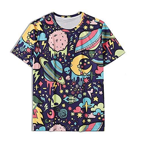 Galaxy Camiseta Hombres 3D Espacio de impresión Tshirts Tshirt University Tshirt Mens T Shirts 3D Tops Impresos Moda Unisex Manga Corta Cuello Redondo Camisetas Divertidas,1025,XL