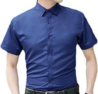MogogN Mens Plus-Size Solid Color Short Sleeve Stylish Breathable Dress Shirt Top